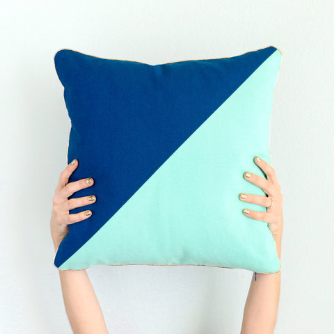 Pillow- Navy and Mint Blue Color Blocked Throw Pillow with Gold Piping