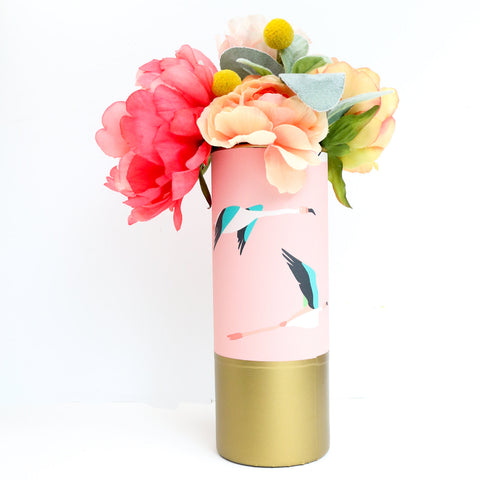 Flamingo Pattern Wrapped Flower Vase -Pink Flamingos with Matte Gold Bottom Flower Vase