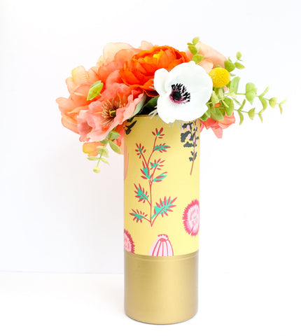 Mustard Floral Pattern Wrapped Flower Vase With Matte Gold Bottom - Flower Vase