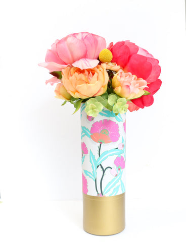 Pink and Turquoise Floral Pattern Wrapped Flower Vase With Matte Gold Base - Flower Vase