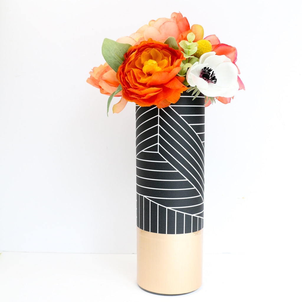 Black And White Graphic Pattern Wrapped Flower Vase With Rose Gold