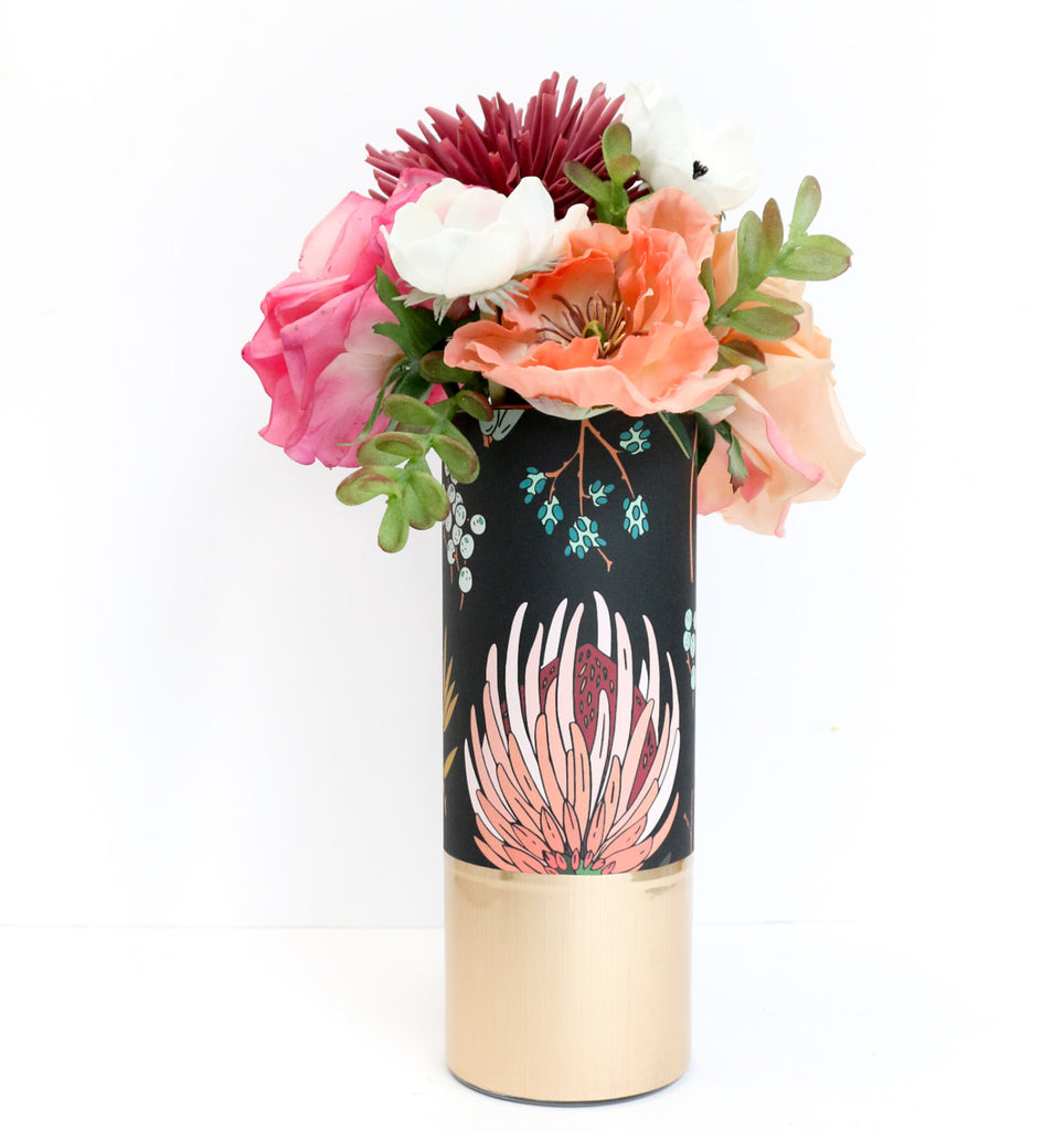 Black Peach And Pink Floral Pattern Wrapped Flower Vase With Rose