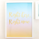 "Large Art Print - Gradient Turquoise, Pink, and Yellow - Right here, right now Art Print - 12"" by 16"""