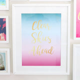 "Large Art Print - Gradient Blue to Pink to Purple - Clear Skies Ahead Art Print - 12"" by 16"" -Gold Foil"