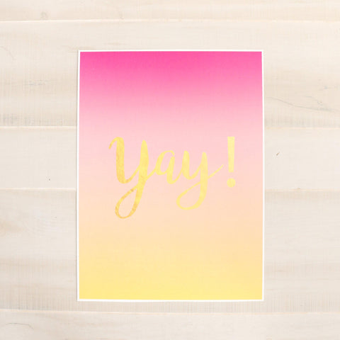 "Large Art Print - Gradient Pink and Peach - Yay! Art Print - 12"" by 16"" - Gold Foil"