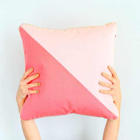 Pillow- Blush and Coral Pink Color Blocked Throw Pillow with Gold Piping