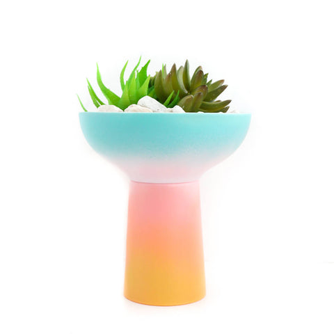 Gradient Planter - Turquoise to Yellow Ombre