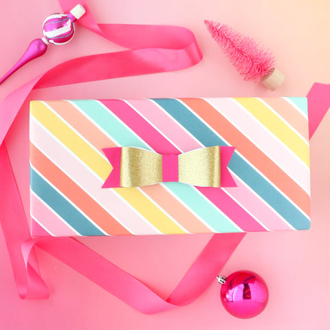Rainbow Candy Stripe wrapping paper sheets - colorful birthday present gift wrap