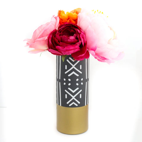 Mud Cloth Flower Vase With Gold Base - Pattern Wrapped