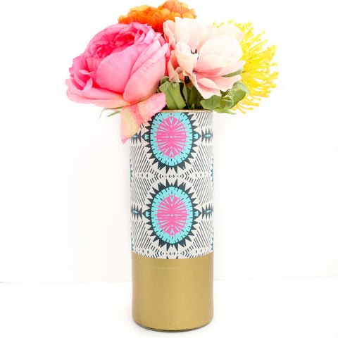 Turquoise and Pink Aztec Pattern Wrapped Glass Flower Vase with Gold Base
