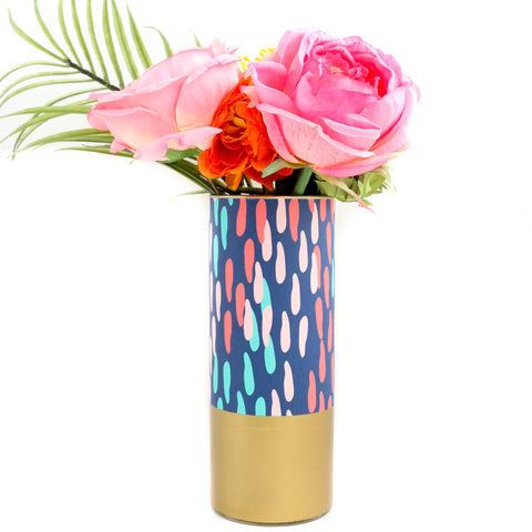 Navy Confetti Dots Pattern Wrapped Glass Flower Vase with Gold Base
