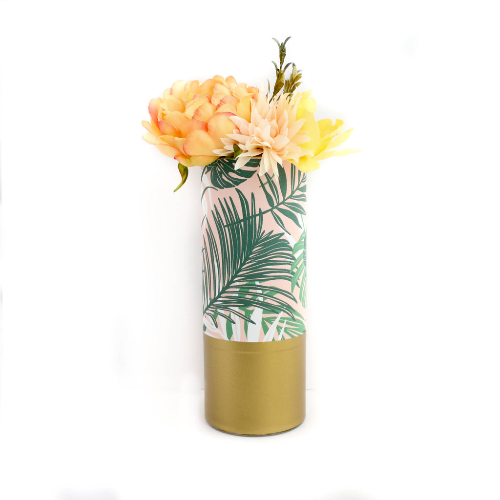 Flower Vase Palm Leaf On Pink Print Vase With Gold Base Plants