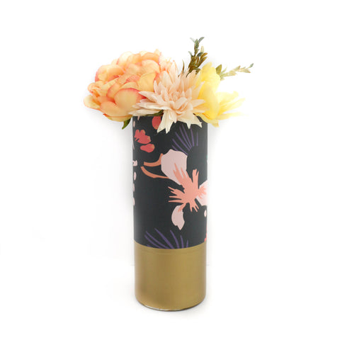 Vase - Fall Foliage Print Flower Vase With Gold Base - Pattern Wrapped