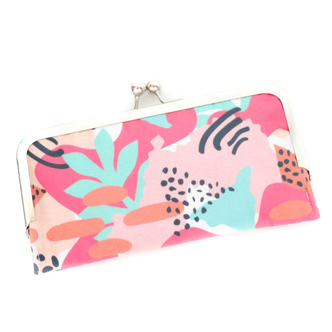 Modern Tropical Cell Phone Wallet Clutch with Kisslock Frame Closure in a Abstract Art Palm Leaf Print