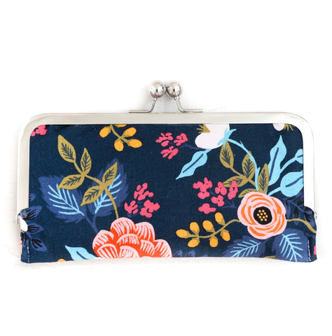 Navy Floral Cell Phone Wallet Clutch with Kisslock Frame Closure in a Rifle Paper Co Fabric