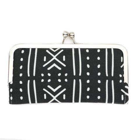 Mud Cloth Cell Phone Wallet Clutch with Kisslock Frame Closure in a Black and White Print fabric