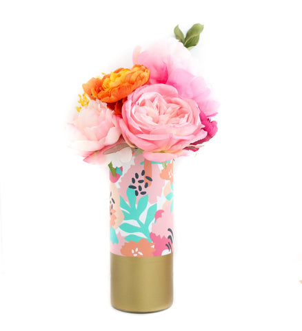 Modern Tropical Flower Vase - Pattern Wrapped Glass Vase