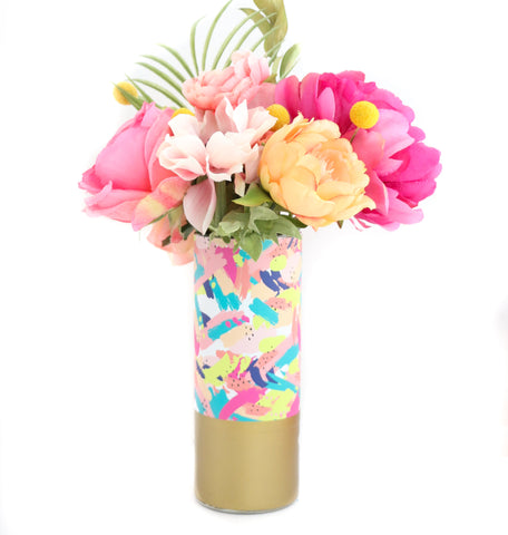 Abstract Brushstroke Pattern Wrapped Glass Flower Vase with Gold Base
