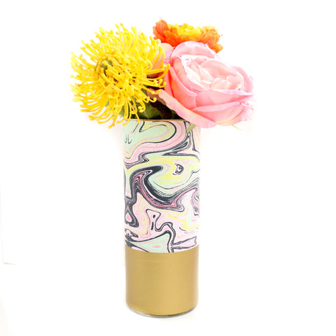 Marble Print Flower Vase With Gold Base - Pattern Wrapped