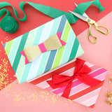 Wrapping Paper - Red and Green Stripe gift wrapping paper sheets - colorful birthday present gift wrap