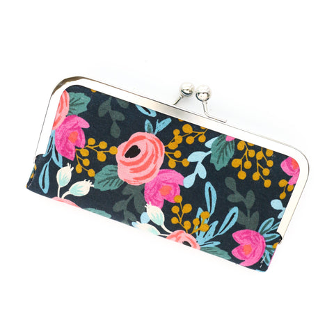 Cell Phone Wallet - Black and Teal Floral Cell Phone Wallet Clutch with Kisslock Frame Closure in a Rifle Paper Co Fabric