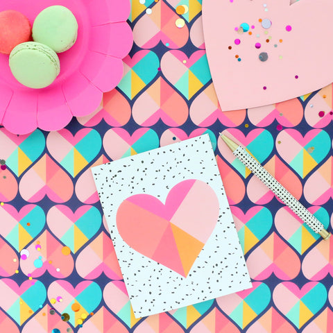 Valentine's Day heart greeting card - blank inside - geometric heart on front