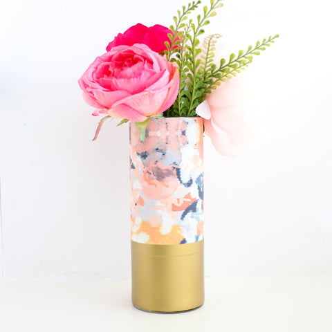 Abstract Navy and Peach Pattern Wrapped Glass Flower Vase with Gold Base