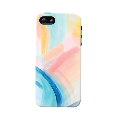 Abstract Art Cell Phone Case (fits all types of phones) - Blue, Peach, and Pink Abstract Pattern - Tough case with rubber bumper and liner