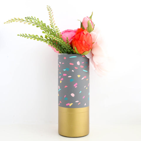 Confetti Pattern Wrapped Glass Flower Vase with Gold Base