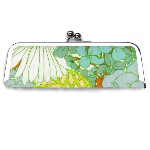 Blue and Green Floral Frame Clutch Wallet