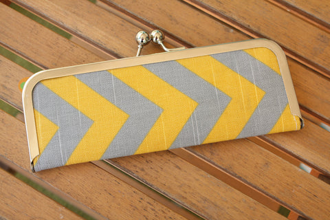 Chevron Wallet - Clutch Wallet - Gray and Yellow Chevron Slim Kisslock Frame Wallet