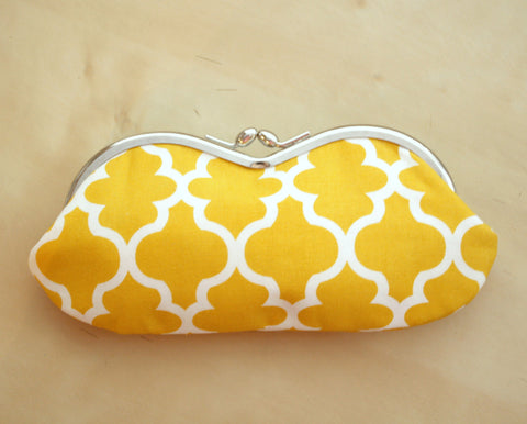 Sunglass Case - Yellow Moroccan Trellis Silver Frame Sunglass Case - Glasses Clutch Pouch