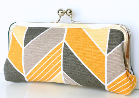 Yellow and Gray Chevron Clutch - Kisslock Frame Clutch in Yellow and Gray Chevron Print Canvas Fabric - Kisslock Clutch