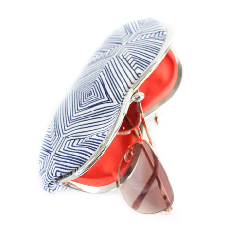 Sunglasses Case in Navy Blue and White Tribal Lines Print With Orange Lining  - Kisslock Sunglasses or Eyeglasses Case