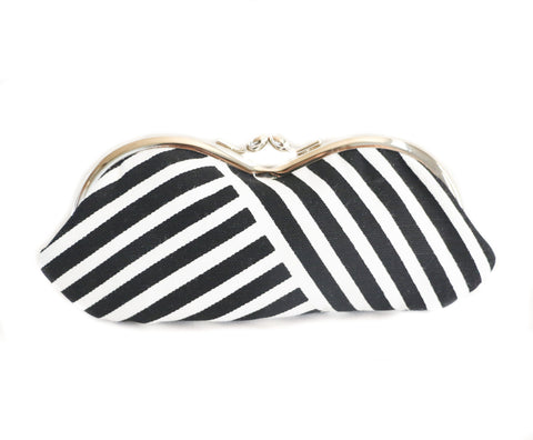 Sunglasses Case in Black and White Lines Print with Cobalt Blue Lining  - Kisslock Sunglasses or Eyeglasses Case