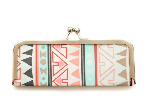 Kisslock Wallet - Tribal Print Coral and Mint Seafoam Aztec - Clutch Wallet - Sleek Women's Frame Wallet