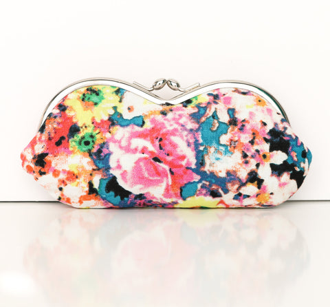 Sunglasses or Eyeglass Case in Abstract Floral Print  - Kisslock Sunglasses or Eyeglasses Case