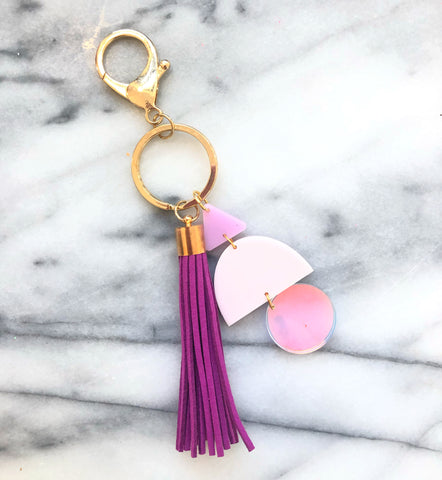 Purple and Iridescent Geometric Tassel Key Chain