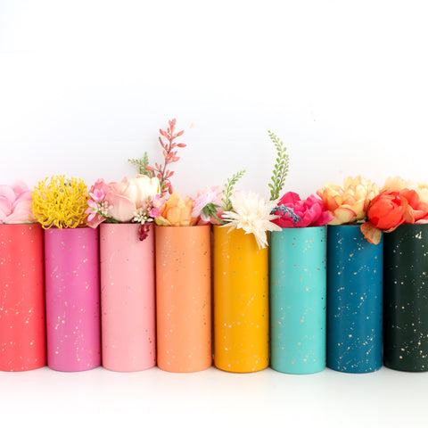 Gold Splatter Flower Vase - Choose your color