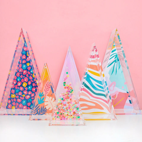 Acrylic Tree Christmas Decorations with Fillable Back