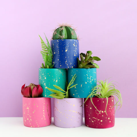 Medium Gold Splatter Cement Planter