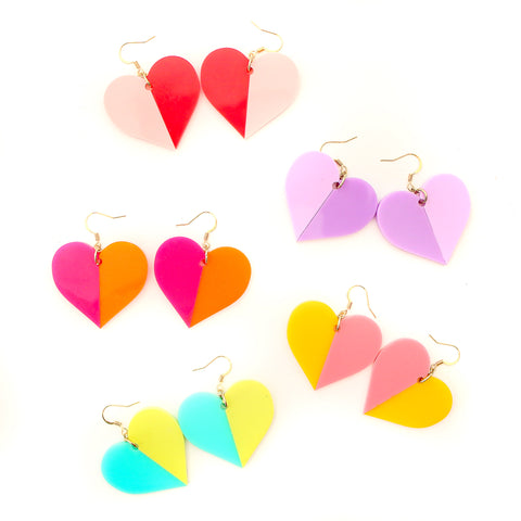 Color Blocked Acrylic Heart Earrings
