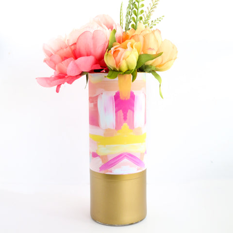 Abstract Art Flower Vase - Pink and Yellow Brushstrokes