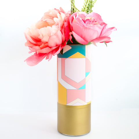 Geometric Flower Vase - Pink stained glass