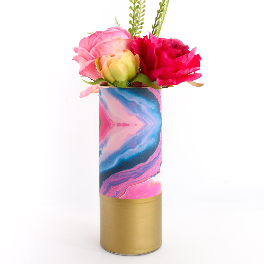 Marble Flower Vase Pink And Navy Marble Kailochic