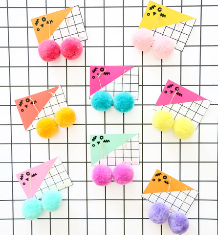 Fluffy Pom Pom Earrings - Solid colors