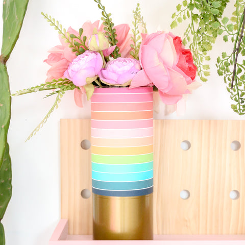 Rainbow Stripe Pattern Wrapped Glass Flower Vase with Gold Base