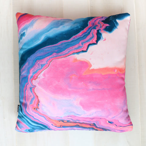Pink and Navy Marble Throw Pillow