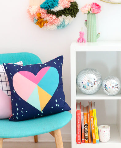 Navy Geometric Heart Valentine's Day Throw Pillow