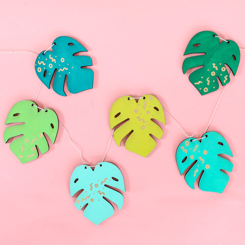 Monstera Leaf DIY Paint Your Own Wood Garland